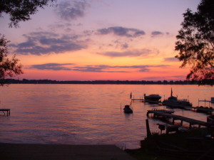 Sunset on Walled Lake in Novi MI