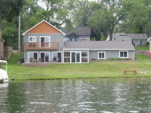 Lakefront houses on White Lake in Oakland County