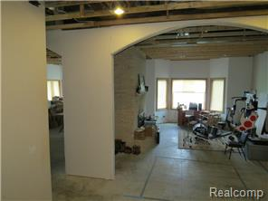 Partial Finished bsmt , 13 ft ceilings, double sided fireplace ,